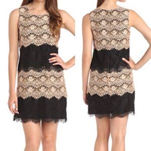 Jessica Simpson Lace Tiered Scalloped Dress Black
